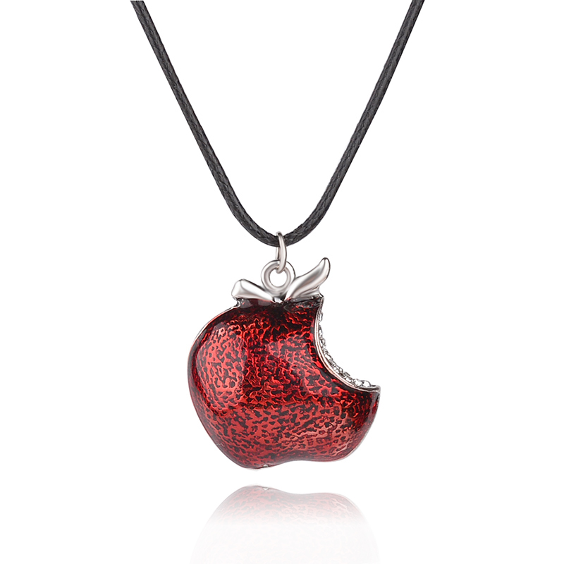 Once Upon a Time Necklace Regina Mills One Bite Red Poison Apple Pendants Necklace Charm Necklace Collar Women Accesorios Mujer(China (Mainland))