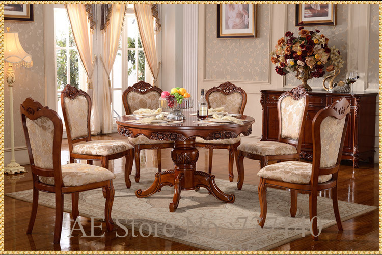 dining table set dining table 6 chairs retro wood furniture luxury dining room set dining room. Black Bedroom Furniture Sets. Home Design Ideas
