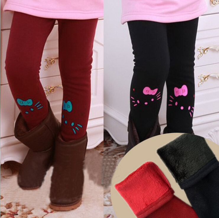 Retail 2015 winter girl pants 2-10 years kids lovely velve t warm leggings baby girl's black pants autumn children's clothing(China (Mainland))