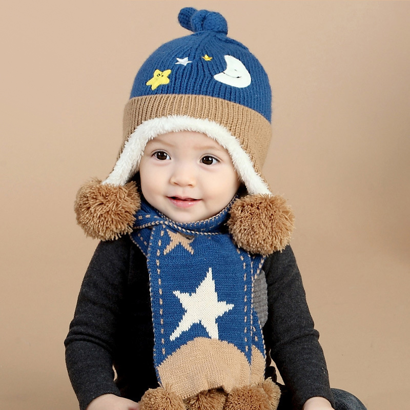 2pcs/set New Child Winter Thicken Keep Warm Acrylic Hats & Scarf Baby Cartoon Moon And Stars Knitted Cap for Boy Girl(China (Mainland))