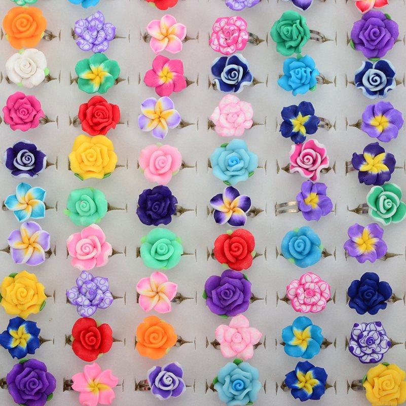 100Pcs Wholesale Lots Bulk Mixed Polymer Clay Children Kids Girls Finger Rings Flower Adjustable Rings For Kids anel dedo<br><br>Aliexpress