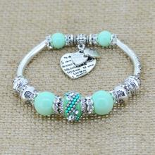 silver love heart charm bracelet bangles glass beads strand bracelets  fashion jewelry for women 2014(China (Mainland))