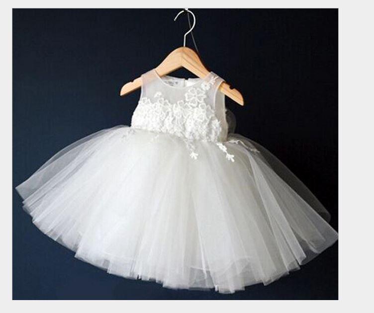 2015 New Summer Style Girls Dress High Quality tutu Dress for Girls White Party Dress for girl child Wedding Dress for girls(China (Mainland))