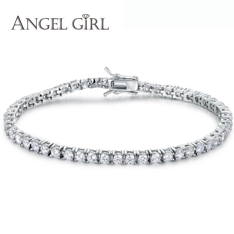 Angel girl 2016Big Sale Round 0.5 Carat Cubic Zirconia Tennis Micro Inlay Bracelets & Bangles Charm Bijoux double-safety-clasps(China (Mainland))