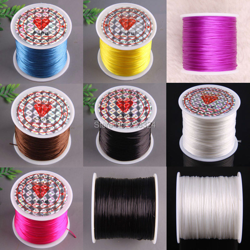 Free Shipping 1MM Crystal Rose red Blue Yellow Black White Brown Stretch Elastic Beading Cord 100M 1Pcs(China (Mainland))