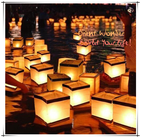 Freeshipping New 2pcs Floating Water Square Lantern,15cm Paper Lanterns,Wishing Lantern With Candle For Party Birthday Decration(China (Mainland))