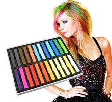 Temporary 24 pcs Colors Non-toxic Hair Chalk color Dye Soft Hair Paste Kit Chalk Pastels Stick Free Shipping