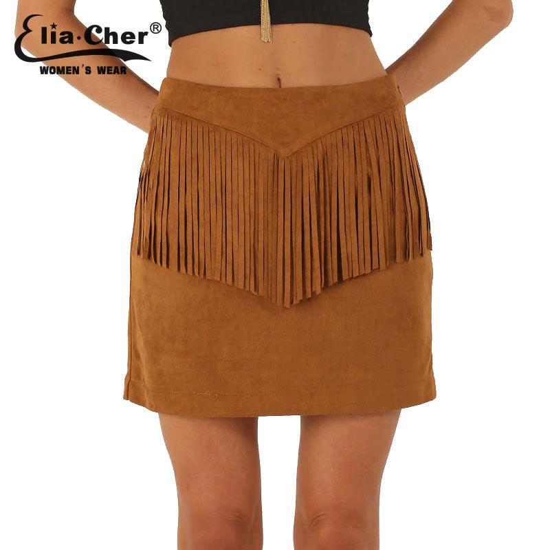 Falda corta marrón con flecos