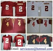 Florida State Seminoles FSU College 12 Deondre Francois 2 Deion Sanders 4 Dalvin Cook Black Red White Team Color product(China (Mainland))