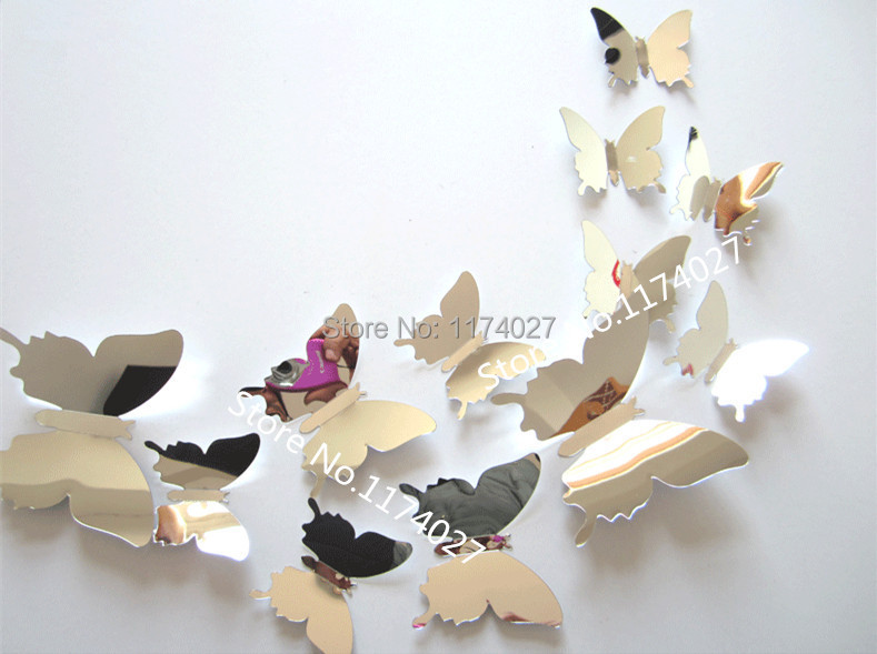 Butterfly Mirror Wall Decoration : Pcs d mirror butterfly wall decor stickers