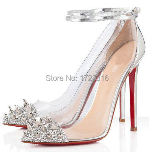Crystal Wedding Shoes White Rhinestone Red Bottom Women Pumps Party Woman High Heels  -  Super VIP shoe store store