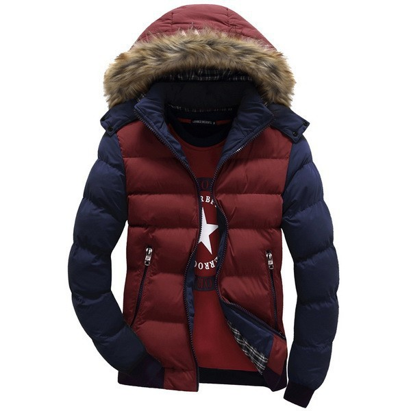 2015 New Contrast Color Hooded Design Men Parka Size M-3XL Casual & Fit Men's Winter Jacket Stand Collar Thick Man Down Jacket(China (Mainland))