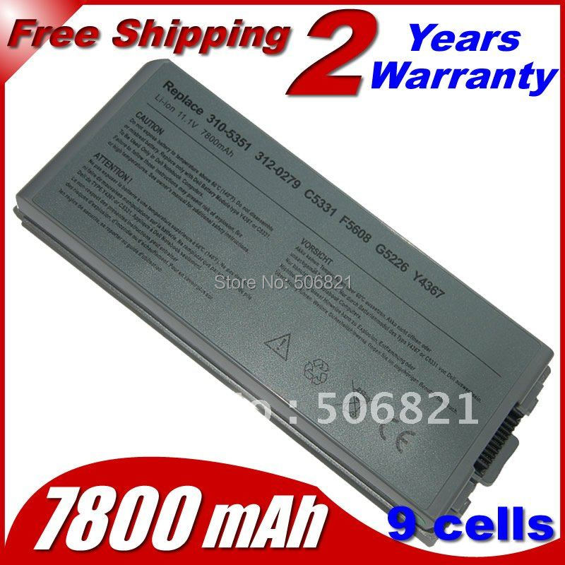 9 cells 7800mah Laptop Battery 310-5351 312-0279 C5331 C5340 D5505 D5540 F5608 G5226 Y4367 For Dell Latitude D810 Precision M70(China (Mainland))