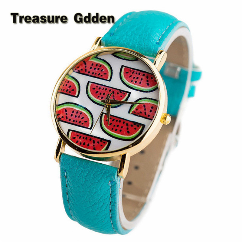 2016 New Arrival Fashion Female Wrist Watches Luxury Wristwatches Leather Strap Cartoon Watermelon Women Dress Watches(China (Mainland))