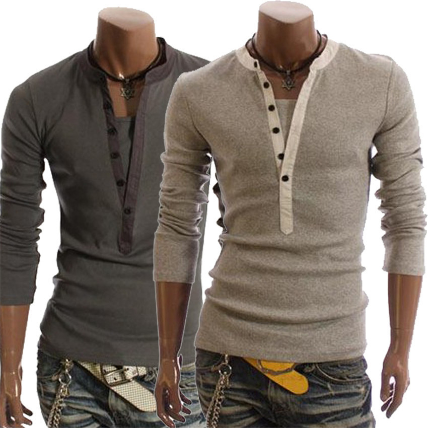 Hot sale new men 39 s fashion british style solid color long for Mens long sleeve t shirts sale