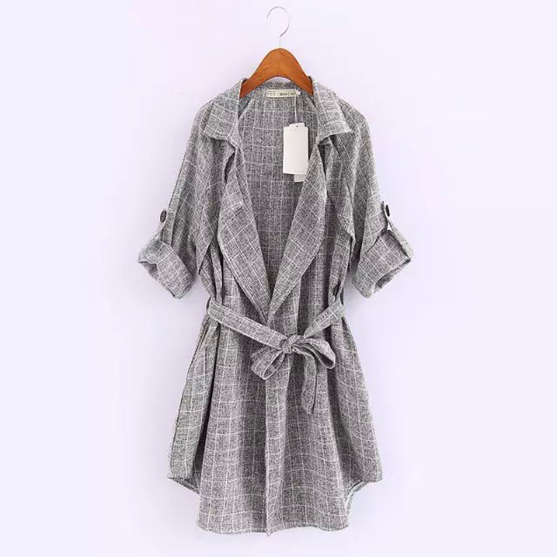 Thin Plaid Windbreaker 2015 Spring Autumn Fashionable Vintage Style New Arrival Casual Grey Lapel Long Sleeve Loose Jacket Coat2Одежда и ак�е��уары<br><br><br>Aliexpress