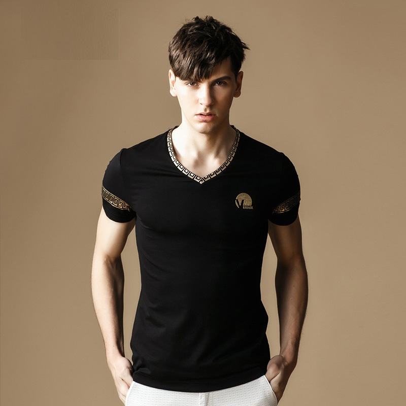 2016 British Summer Style Mens T Shirts New Fashion Printing Slim T-shirt Short-sleeve V-Neck Brand Casual Men Clothes M320