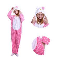 2019 pijamas de invierno Animal Stitch ropa de dormir unicornio pijamas onesie conjuntos Kigurumi mujeres hombres Unisex adultos franela camisón monos(China)