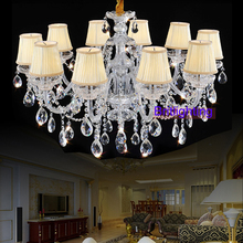 modern living room crystal chandelier lights fabric Cover chandeliers candle lighting crystal lamp shade chandelier modern light(China (Mainland))