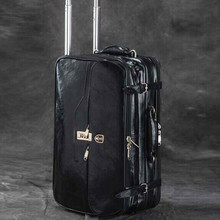sport bag Genuine Leather women and men travel bags ,commercial computer rolling spinner trolley case style, luggage, lock, mute(China (Mainland))