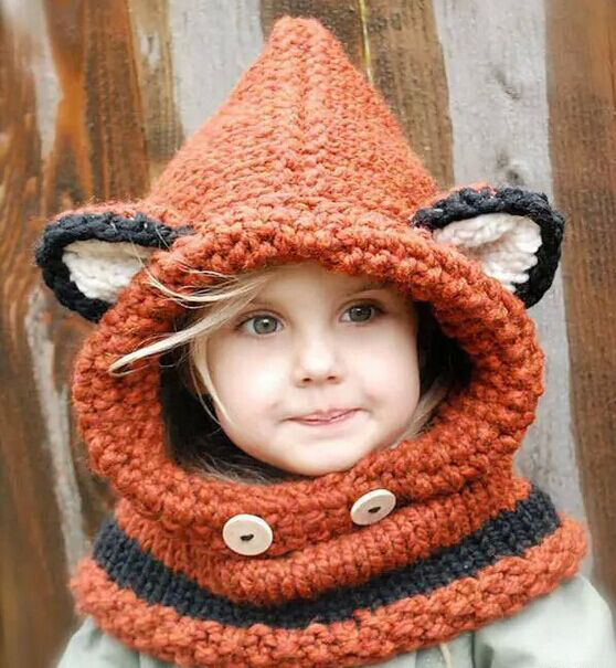 1 Pcs 2015 New lovely Fox Children Skullies Hat And Scarf Autumn Winter Keep Warm Knitted Cap Beanies Orange Free Shipping(China (Mainland))