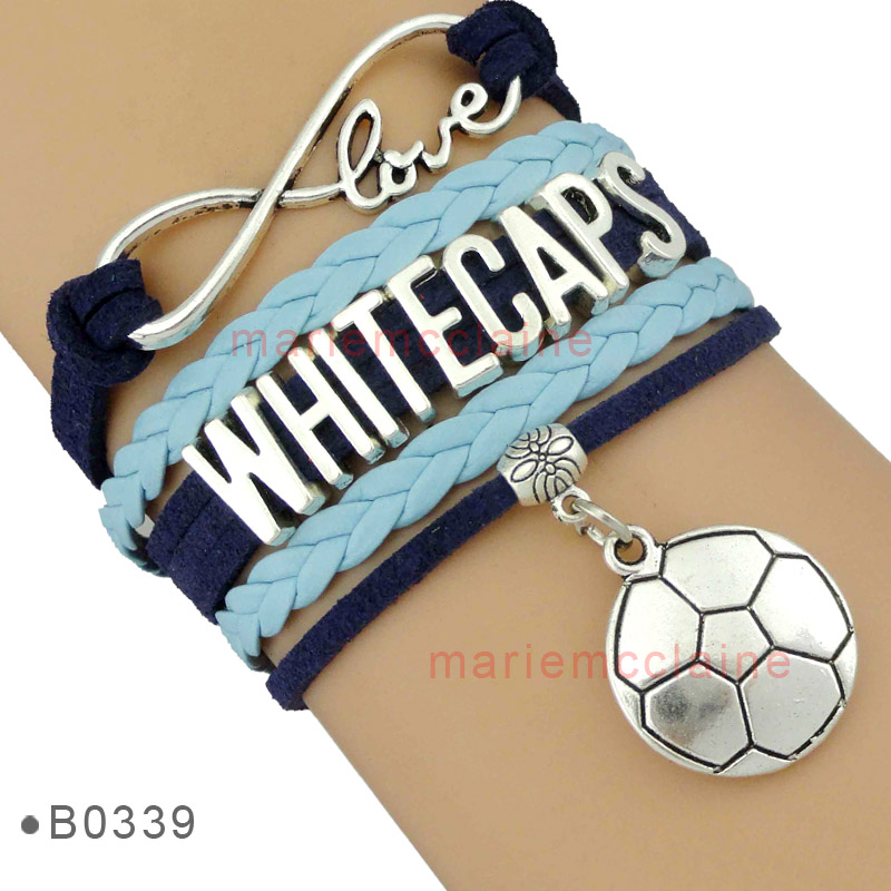 (10 Pieces/Lot) Infinity Love MLS Vancouver Whitecaps Football Club Bracelet Navy Blue Custom Any Themes Drop Shipping(China (Mainland))