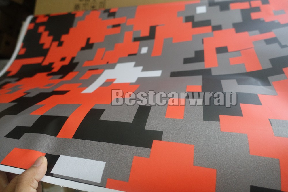 orange tiger pixel piexl camouflage vinyl camo car wrapping digital black white car wrapping film small large foile (6)
