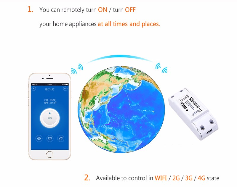 Newest WiFi Wireless Smart Switch Intelligent DIY Remote Control Wifi Switch 10A / 2200W Timer Wifi Switch For Smart Home