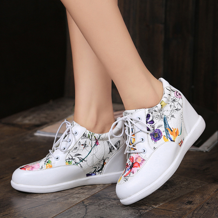 2015 woman wedges flower print lace-up shoes casual sneaker shoes for female fashion sport shoes<br><br>Aliexpress