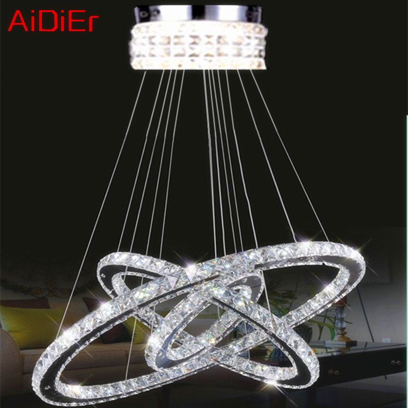 NEW 3 Round diamond ring crystal lamp Modern living room LED lustres K9 crystal Polished Chrome Chandeliers(China (Mainland))