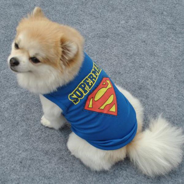 Pet Dog Vest Clothes XS S M L T-shirt Cat Puppy Superman Crown Shirt Dog Apparel(China (Mainland))