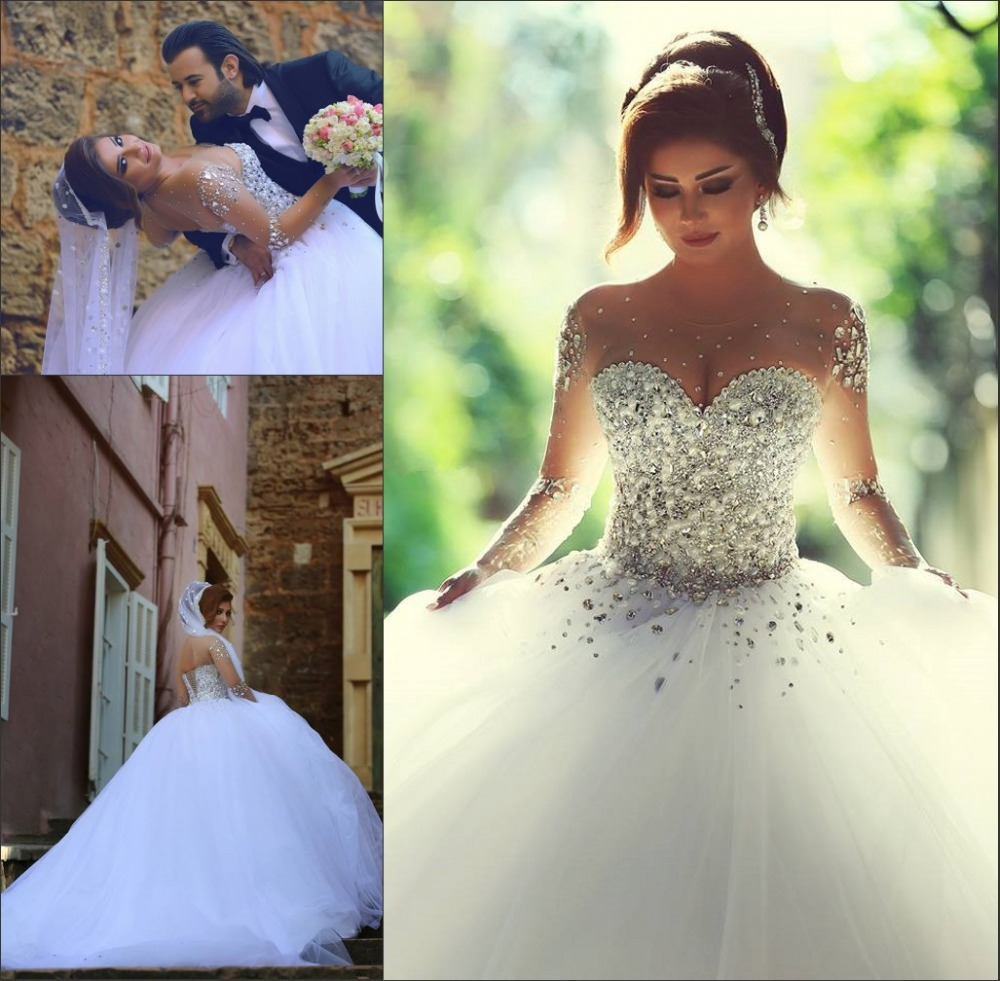 Said Mhamad 2015 Long Sleeve Wedding Dress vestidos de noiva Ball Gown Bridal Gowns Lace Up Back Luxury Wedding Dress for Brides(China (Mainland))