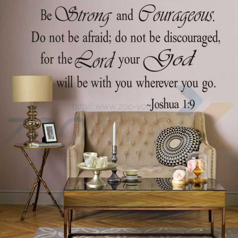 $&8127 Christian Bible joshua 1:9 religious English quotes home decor wall stickers vinyl technology living room bedroom(China (Mainland))
