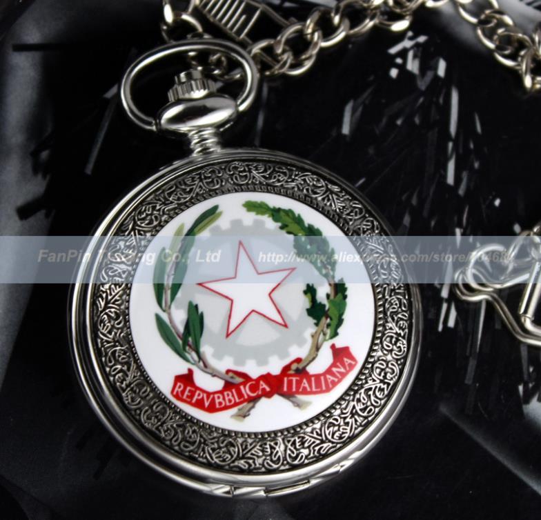 Italy National Emblem Mens Silver Black Mechanical Pocket Watch Free Gift Box<br><br>Aliexpress