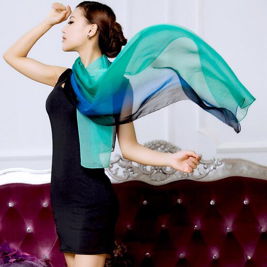 180x70cm 2016 winter 100 real silk scarf wrap shawl hijab women gradient solid color long - Foulard Color