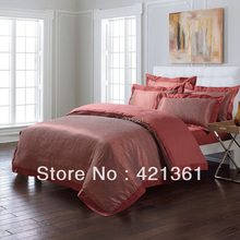 Orange and coffee Jacquard  Embroidery Satin bedclothes tancel and cotton blended bedding set king queen  duvet cover sheet  2(China (Mainland))