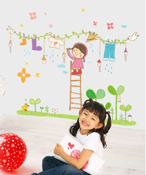 New Laundry Girl Happy Childhood Wall Stickers Removable