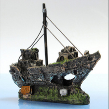 HOT !!! Aquarium Ornament Wreck Sunk Ship Sailing Boat Destroyer Fish Tank Cave Decor(China (Mainland))