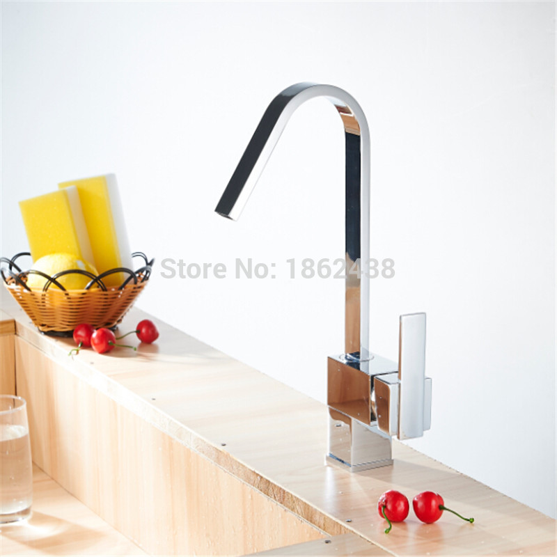 Bathroom Mixer Pure Copper Chorme Basin Sink And Kitchen Faucet Modern Simple Design Tap For Bathroom Accessories Set(China (Mainland))