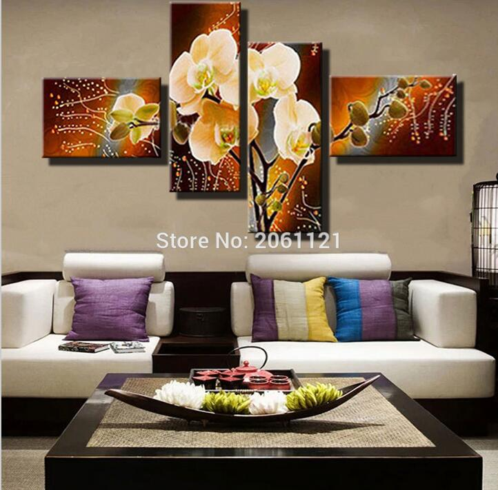 modern orchid painting yellow brown flower canvas oil painting hand painted wall pictures home decoration pieces gifts(China (Mainland))