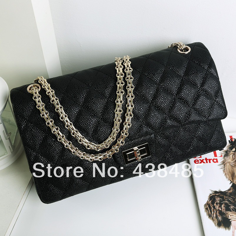 2014 Famous Brand Style 100% Real Genuine Leather Bags Women Shoulder Bag Crossbody Luxury Black Plaid Designer Quilt Chain - China Best Supplier store