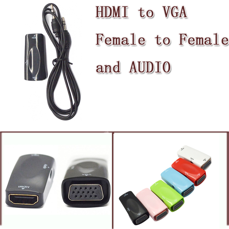 HDMI VGA + audio 3.5mm cable female extender converter connector adapter - USBONLINEDIRECT Communication Co., Ltd. store