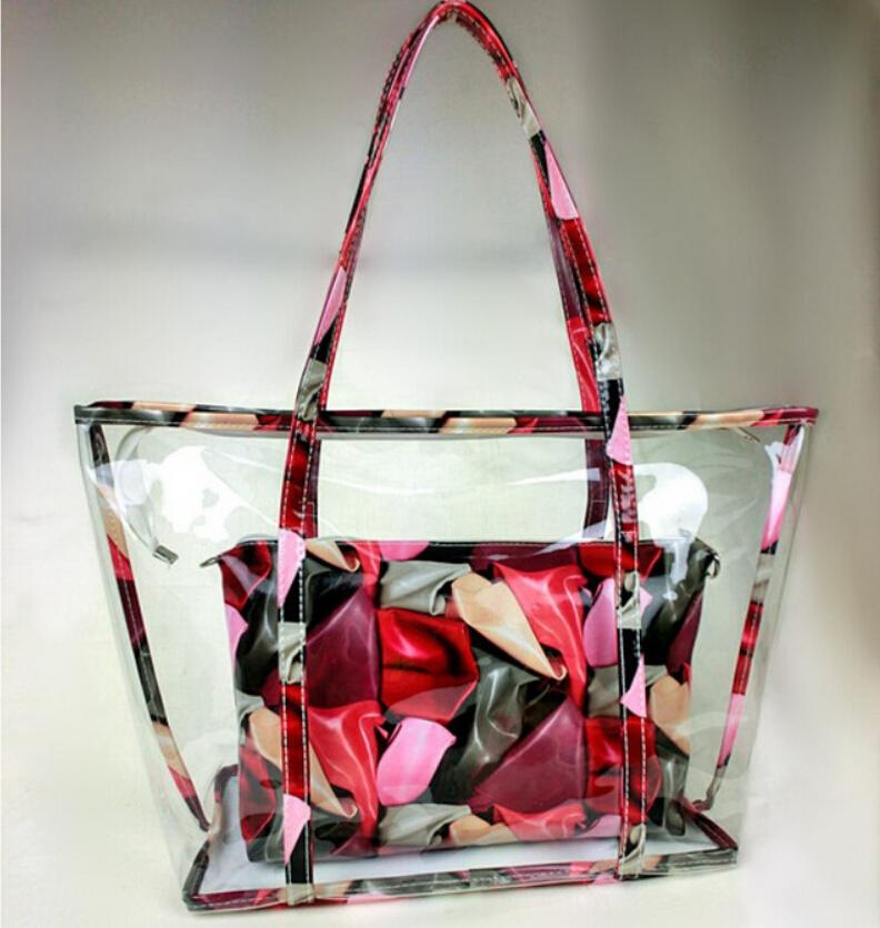 Handbag Women Beach Bag Two Piece Set Combination Printing Floral Shoulder Bag 2016 New Fashion Transparent Jelly Bag Bolsas(China (Mainland))