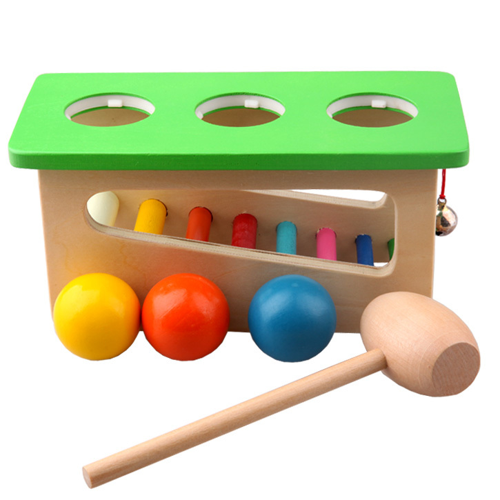 Children Baby Wood Sound Knock Ball Percussion Punch and Drop Instruments Pound Pounding and Roll Bench Tower ,2,3,4,year old(China (Mainland))