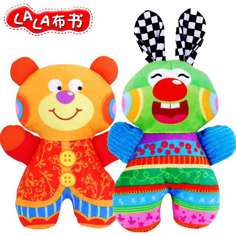 Free shipping Cartoon lalababy pacify doll bear and rabbit rattle ring paper plush handbell baby newborn infant toy gift 2pc(China (Mainland))
