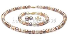 xiuli 00116 Lovely natural 9-10mm mixed-colour AAA+ grade pearl Necklace Bracelet Earring SET 14KT(China (Mainland))
