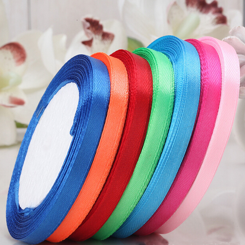 25 yards/roll 6mm Single Face Satin Ribbon Wholesale Gift Packing Christmas Ribbons(China (Mainland))