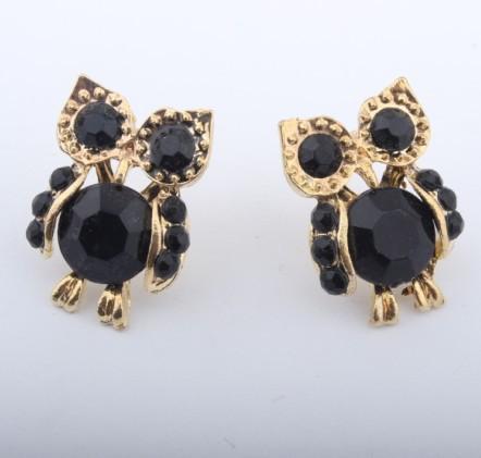 Promotion! ! Fashion lady women earrings jewelry vintage black rhinestone owl stud ER550 - Shero Shop(Min,order $ 10+Gift store)