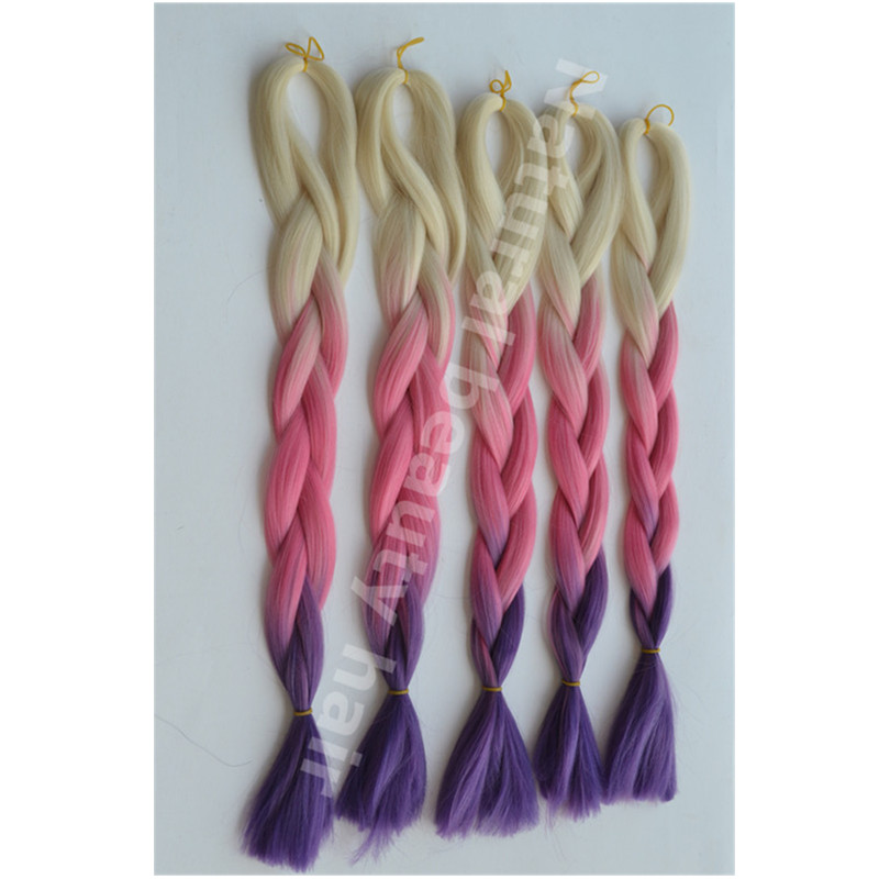 Free shipping!Ombre braid hair Blonde&amp;pink&amp;purple 3 tones color Jumbo Braid for festival cosplay best  synthetic fiber hair<br><br>Aliexpress