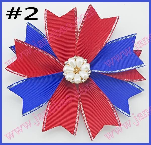 free shipping120pcs 4.5'' spike hair bows spirit boutique pinwheel hair bows girl spiked hair bow(China (Mainland))